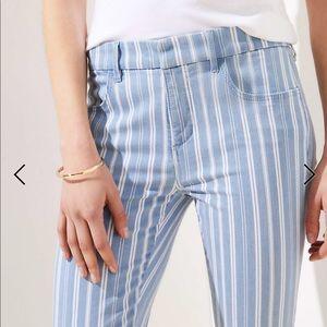 Striped skinny crop jeans